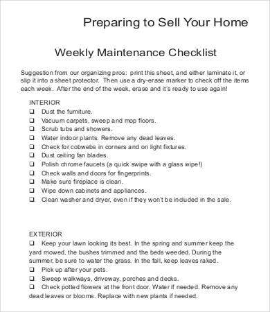 Weekly Maintenance Checklist Template