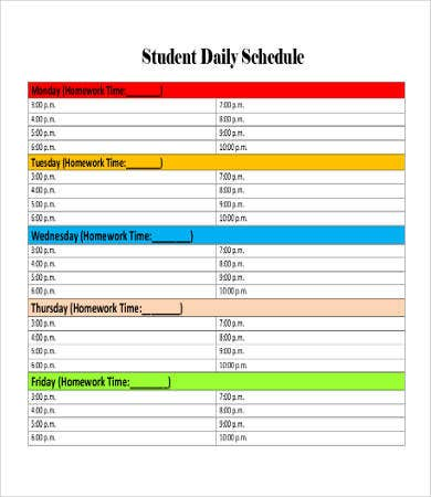 Printable Student Daily Schedule Template