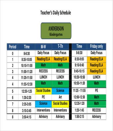 Printable Teacher Daily Schedule Template