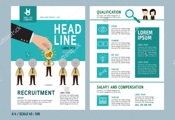 Recruitment Flyer Design Vector