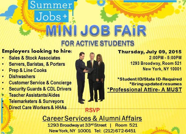 mini job fair flyer