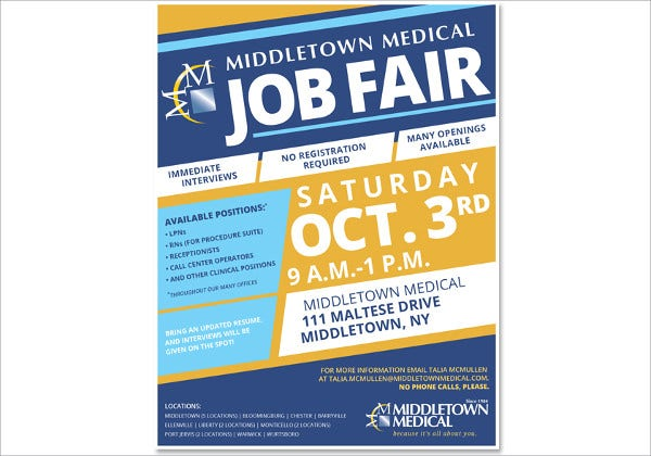 medical job fair flyer