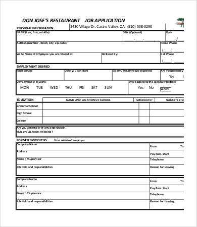 printable restaurant job application template