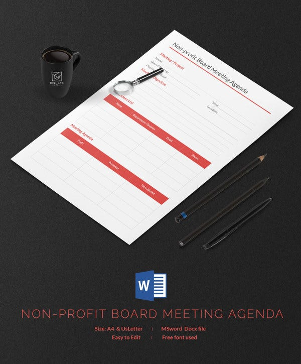 non profit board meeting agenda