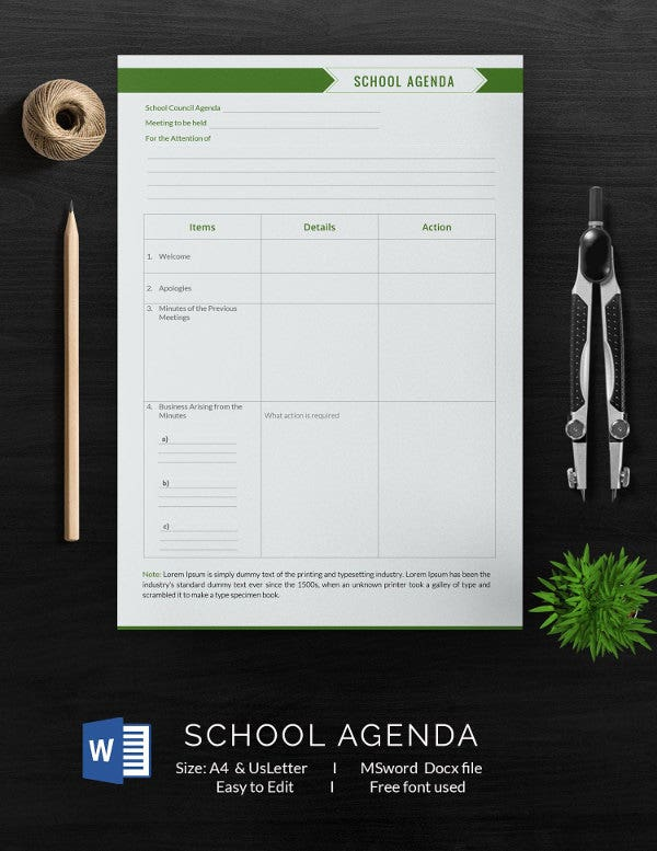 school agenda template