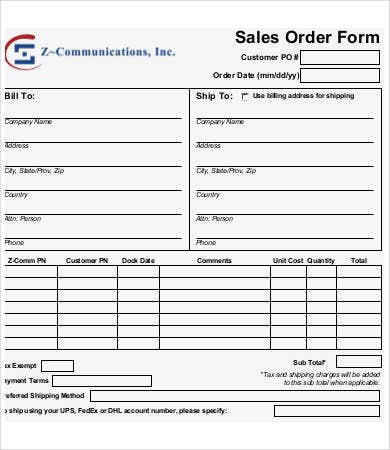 printable sales order form template