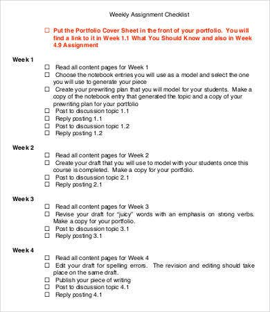 Weekly Assignment Checklist Template