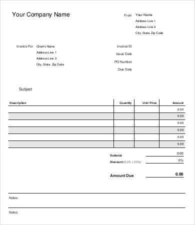 sample of a invoice