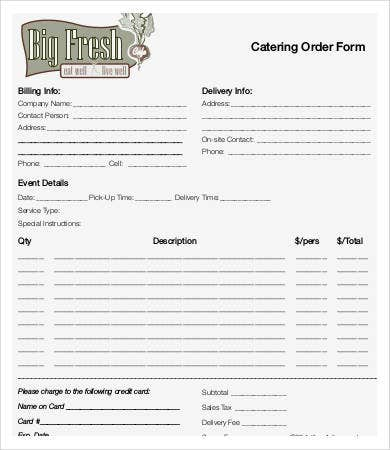 printable catering order form template