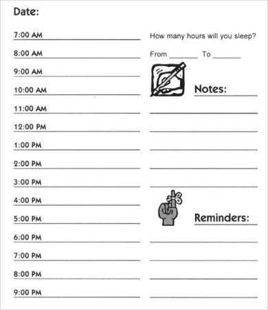 printable hourly appointment schedule