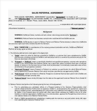 sales commision agreement template - referral agreement templates 9 free pdf documents