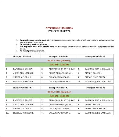 printable passport appointment schedule