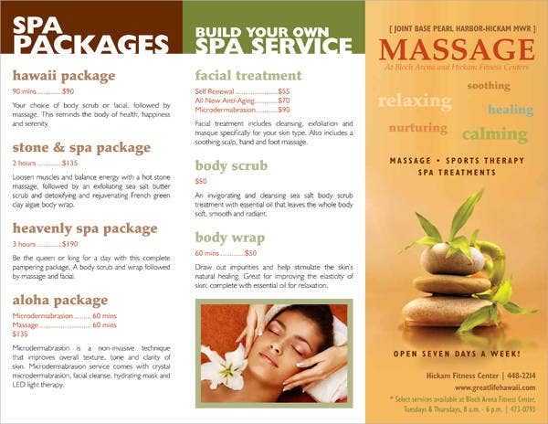 spa brochure templates free - 7 massage brochures printable psd ai indesign vector