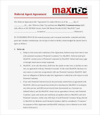 Referral Agreement Templates   Free Pdf Documents Download  Free