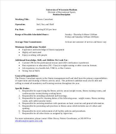 fitness consultant job description
