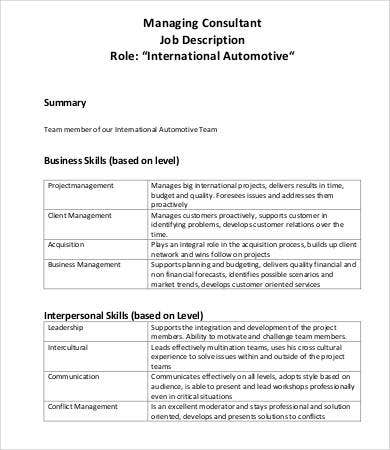 Consultant Job Descriptions   Free Word Pdf Documents