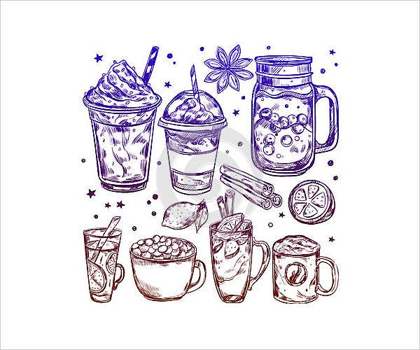 winter-drinks-icons-set