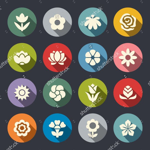 Set of Flat Flower Icons