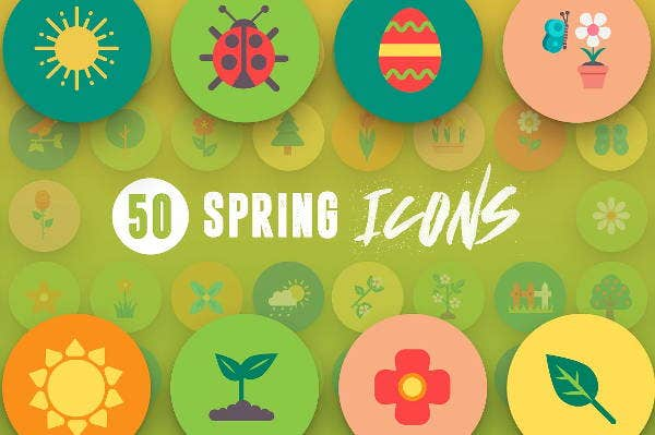 multicolour spring icons set