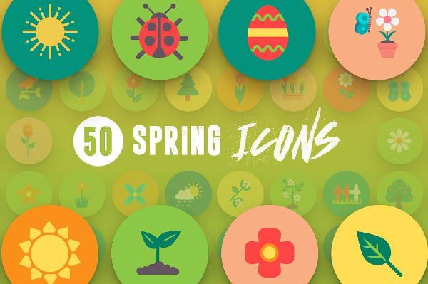 multicolour spring icons set