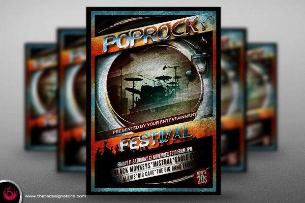 pop rock festival flyer