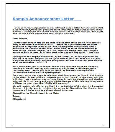 Announcement Letters   Free Word Pdf Documents Download  Free