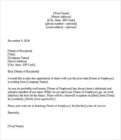 Attractive Retirement Announcement Letter Template Intended Announcement Letter Sample Format