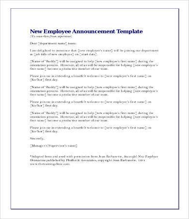 Announcement letters 9 free word pdf documents for New employee press release template