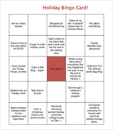 free holiday bingo card