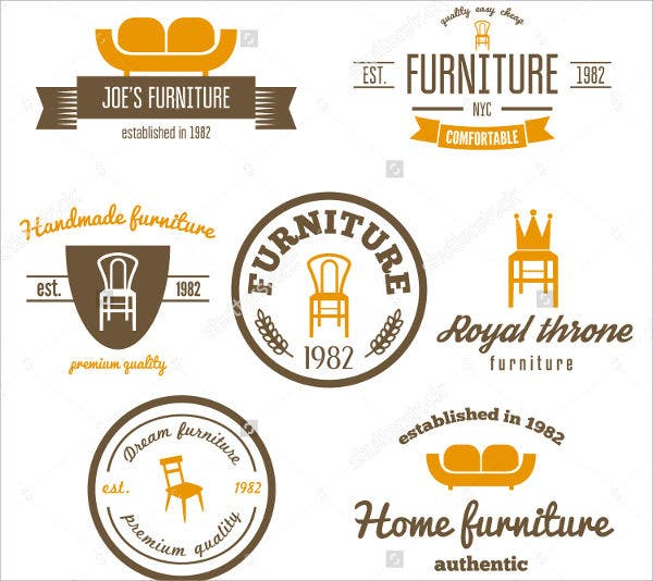 set of vintage furniture logos