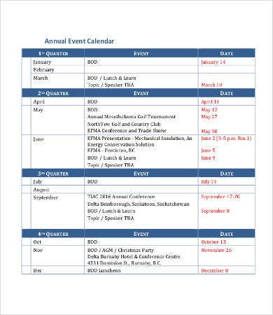 sample calendar of events template - annual calendar template 9 free pdf documents download