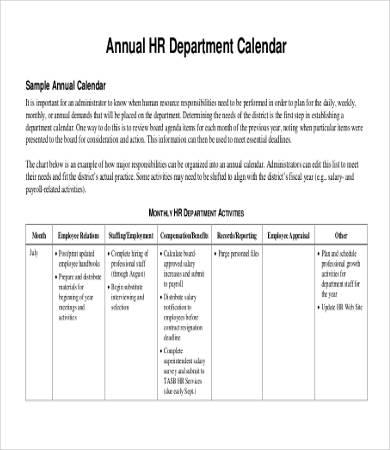 Annual HR Department Calendar