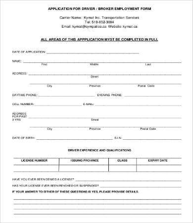 Application For Employment Form - 9+ Free Word, Pdf Documents