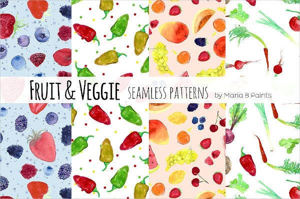 fruits vegitables watercolor patterns