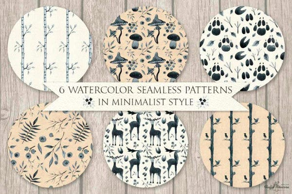 Minimalist Style Watercolor Patterns