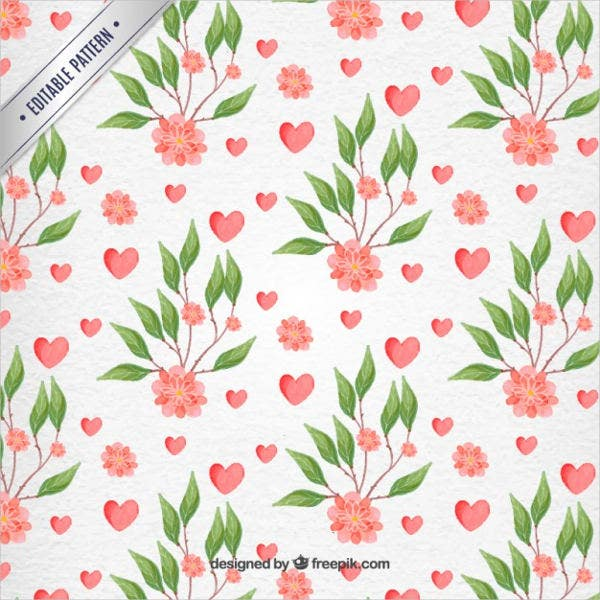 valentine day watercolor flowers pattern