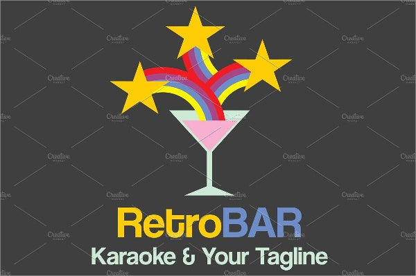 retro bar logo design