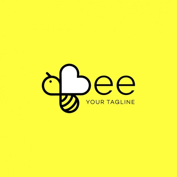 modern bee logo design