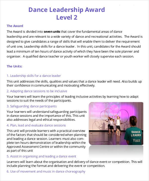 dance leadership award sample