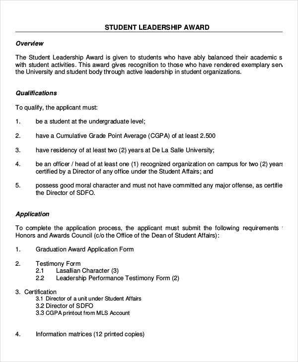 Leadership award templates 9 free pdf documents download free student leadership award template yelopaper Image collections