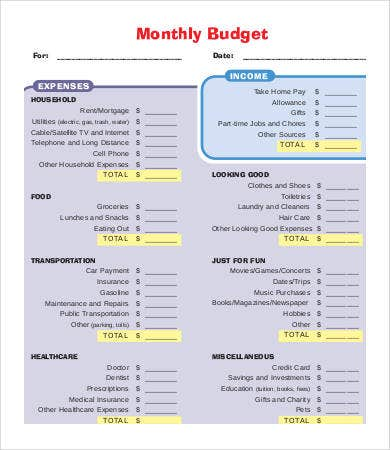 monthly budget printables