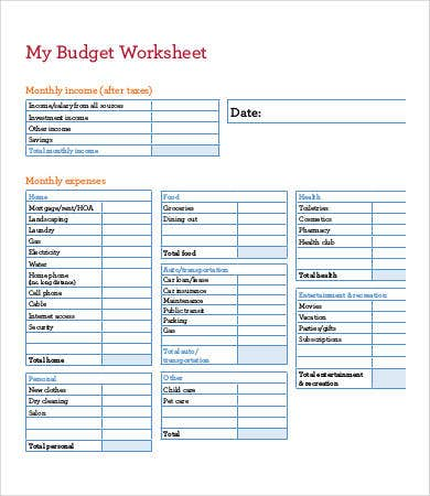 budget worksheet printables