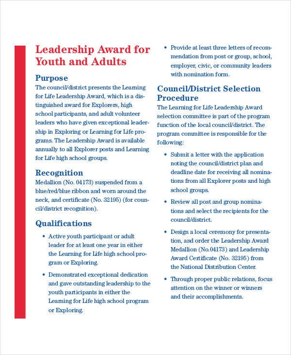Leadership award templates 9 free pdf documents download free youth leadership award template yelopaper Image collections