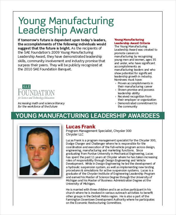 manufacturing leadership award template