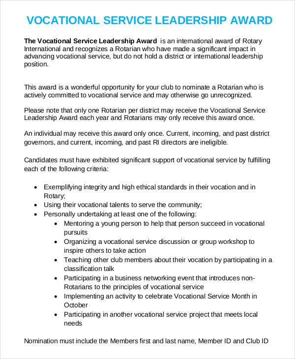 service leadership award template