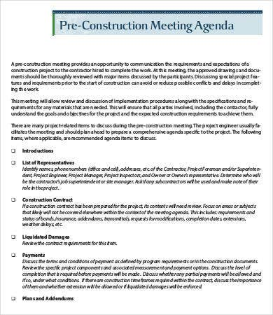 Pre Construction Meeting Agenda Template