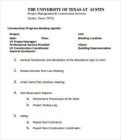 Construction Progress Meeting Agenda Template
