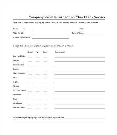 company vehicle checklist template