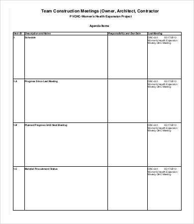 Team Construction Meeting Agenda Template