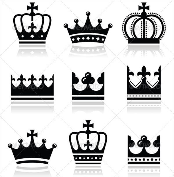 royal family crown icons set